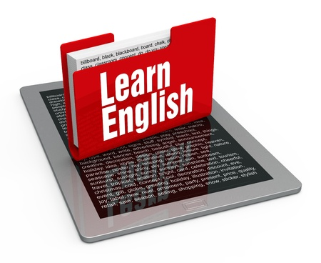 English lesson on computer tablet