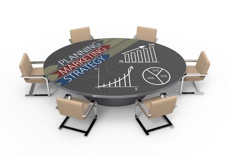 Foto de Oval table with strategic planning concept - Imagen libre de derechos
