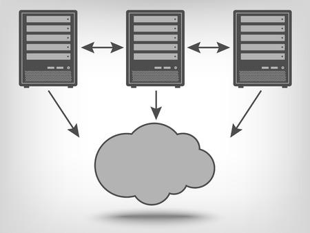 Illustration pour Icon of computer servers and cloud computing as a concept - image libre de droit