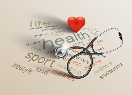 Illustration pour Vector illustration for World Health Day on paper background - image libre de droit