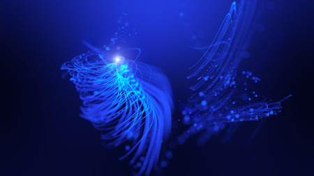 Photo for Twisted glowing blue lines abstract background - Royalty Free Image