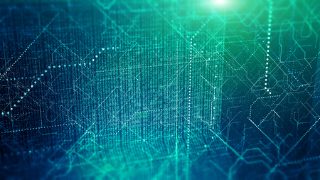 Photo pour Big data visualization. Cyber technology code binary abstract background. - image libre de droit