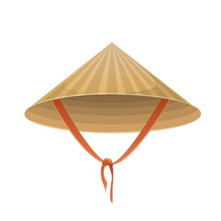 Illustration for Chinese hat in the form of a cone with a tie on a white background. - Royalty Free Image