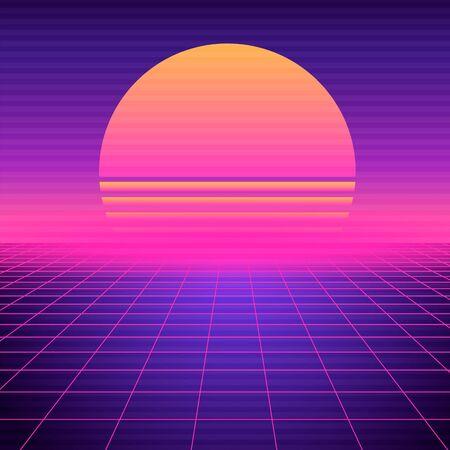Photo pour Retro futuristic background vaporwave. Neon geometric synthwave grid, light space with setting sun abstract cyberpunk design purple 80s disco fantastic vector graphic glow. - image libre de droit