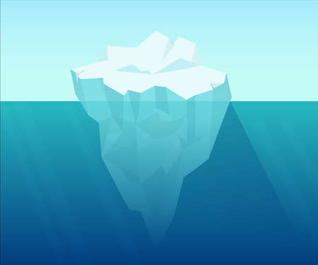 Illustration for Iceberg in ocean. Underwater block of ice floating from arctic cold compressed snow global climate warming northern water landscape huge white polygon on blue background vector water. - Royalty Free Image