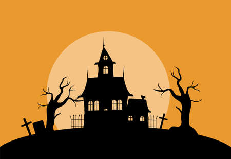 Illustration pour Mystical house in cemetery silhouette illustration. Spooky old palace with dry trees and gravestones against setting sun with creepy gothic vector. - image libre de droit