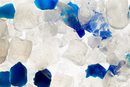 White and blue silica gel crystals