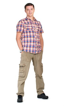 Man hands in pockets cargo pants isolated on white