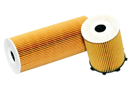 Automotive oil filter-cartridge filter on a white background