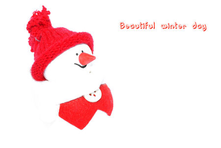 Happy snowman in a red suit on a white background  decoration