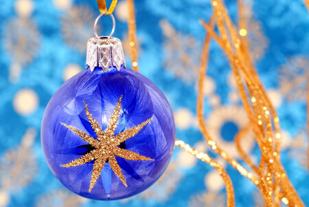 Christmas decorative balls in blue and gold