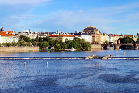 Prague Czech Republic -view across the Vltava river to the National theater.