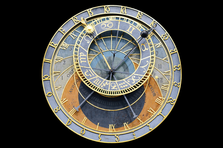 Prague Astronomical Clock on a black background- Czech Republic.