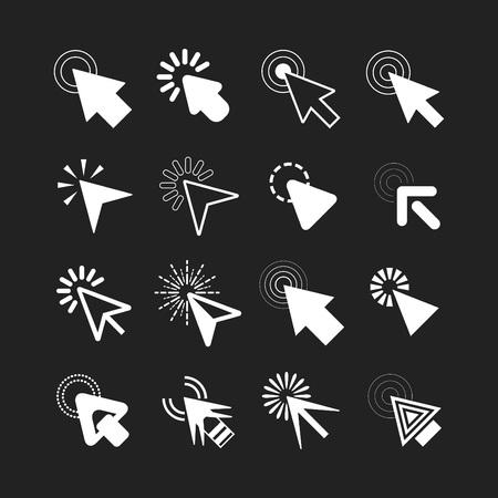 Illustration pour White click cursor pointers icons set on black background - image libre de droit