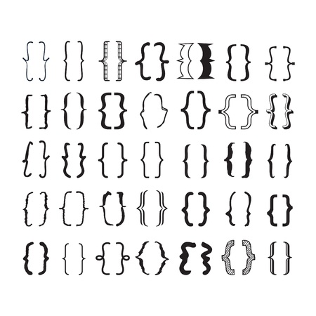 Illustration pour Black oppening and closing pairs curly brackets or braces with different fonts and styles icons set on white background - image libre de droit