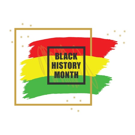 Ilustración de Golden and black History Month colorful emblem banner design element on white background - Imagen libre de derechos