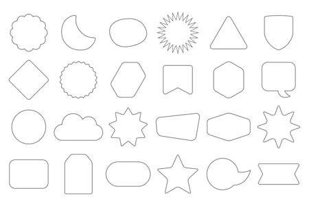 Black line and isolated random shapes empty frames and banners icons set on white background
