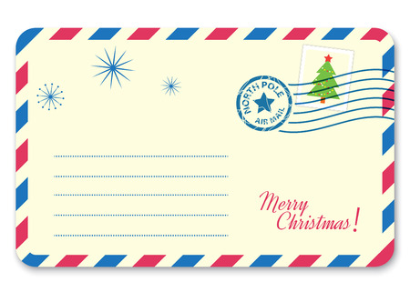 Template New year's letter to Santa Claus with stamp and postage mark. Vector illustration