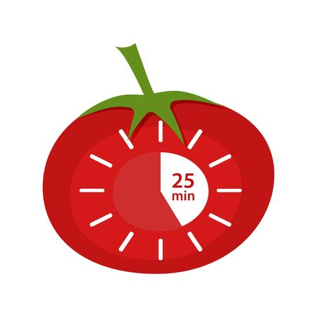 Classic Pomodoro Timer Icon. Vector illustration technique Pomodoro