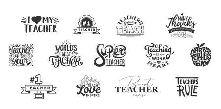 Illustration pour Happy teachers day lettering and typography quote. World best teacher badges for gift, design holiday cards and print. - image libre de droit
