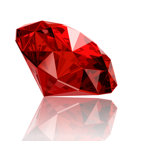 Illustration for realistic vector ruby ??gemstone - Royalty Free Image