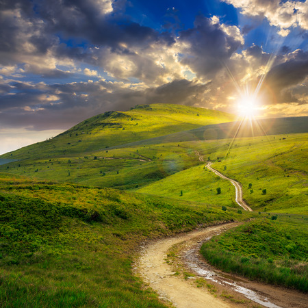 summer landscape. mountain path through the field turns uphill to the sky at sunset