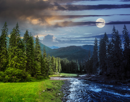 Photo for collage day and night landscape with pine trees in mountains and a river in front flowing to lake with full moon - Royalty Free Image