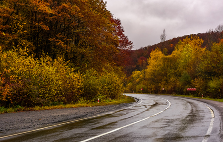 Photo pour turnaround on wet road through forest in autumn. dangerous transportation scenery. miserable rainy weather in mountains. - image libre de droit