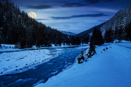 Foto per mountain river in winter at night in full moon light. snow covered river banks. forest in snow on the distant mountain. cloudy morning - Immagine Royalty Free