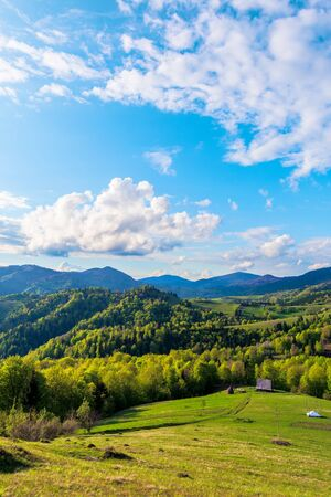 Photo pour Carpathians countryside in springtime. wonderful sunny weather with dynamic cloud formations on the blue sky. forested rolling hill with rural fields in evening light.  - image libre de droit