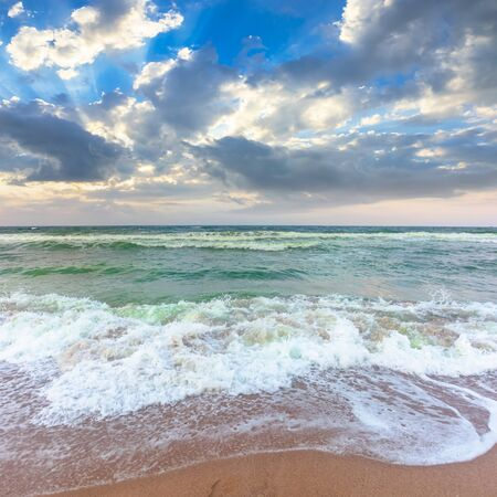 Photo pour golden beach and green sea on a cloudy evening. beautiful view of waves rolling the coast beneath a glowing sky - image libre de droit