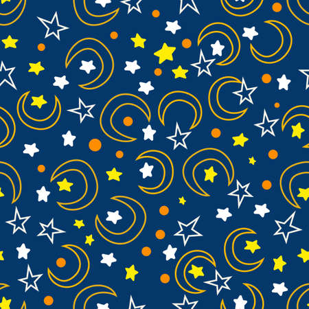 Illustration pour space hand draw pattern design, moon, star, with a blue background, can be used for fabric, textile, wrapping paper, table cloth, curtain fabric and etc. - image libre de droit