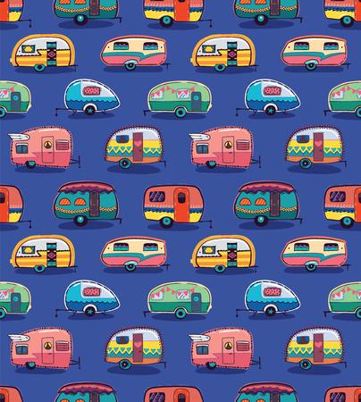 Ilustración de Cute little vintage travel trailers in color on a blue background. Vector seamless pattern - Imagen libre de derechos