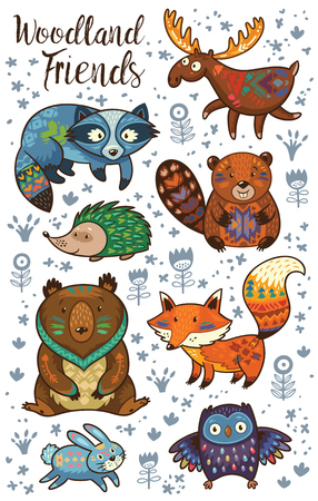 Set of cute woodland animals isolated on white background. Woodland tribal animals cute forest and nature design elements vector. Woodland nursery wall art with fox, beaver, raccoon, bear, hedgehog, deer and owlのイラスト素材