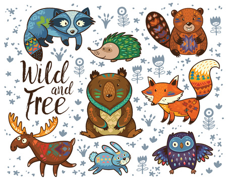 Photo for Set of cute woodland animals isolated on white background with text Wild and Free. Woodland tribal animals cute forest and nature design elements vector. Woodland nursery wall art with fox, beaver, raccoon, bear, hedgehog, deer and owl - Royalty Free Image