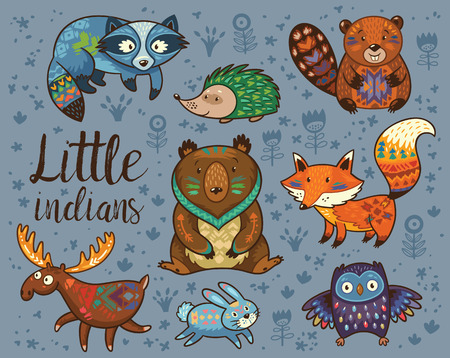 Set of cute woodland animals isolated on white background with text Wild and Free. Woodland tribal animals cute forest and nature design elements vector. Woodland nursery wall art with fox, beaver, raccoon, bear, hedgehog, deer and owlのイラスト素材