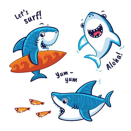 Vektor für Set of blue shark cartoon character isolated on white background - Lizenzfreies Bild