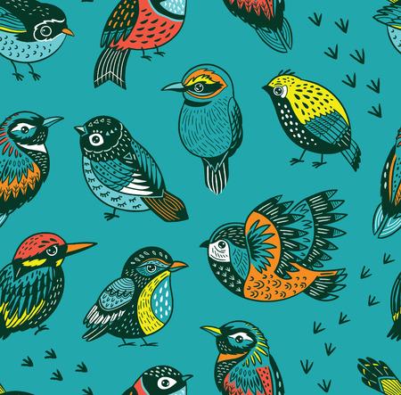 Illustration pour Hand drawn tropical bird pattern - image libre de droit