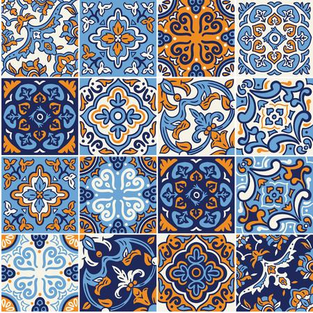 Ilustración de Collection of Spanish ceramic seamless pattern in blue and orange colors. Mosaic patchwork ornaments for design and fashion. - Imagen libre de derechos