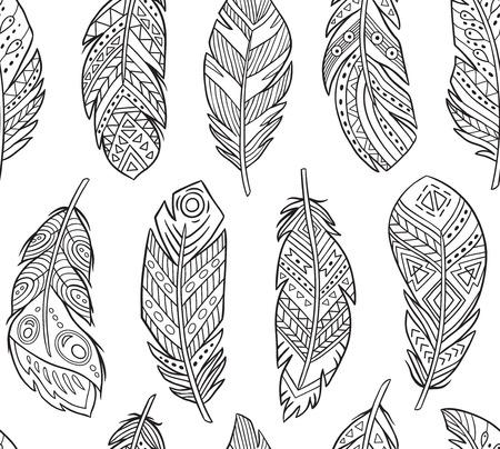 Illustration pour Tribal Feathers in contour endless background. Boho style - image libre de droit