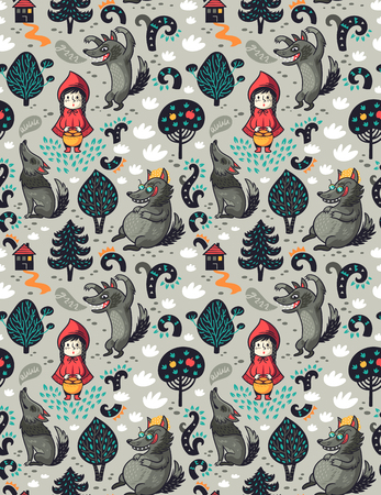 Illustration pour Little red riding hood seamless pattern and gray hungry wolf in the forest. Fairytale imagination background. - image libre de droit