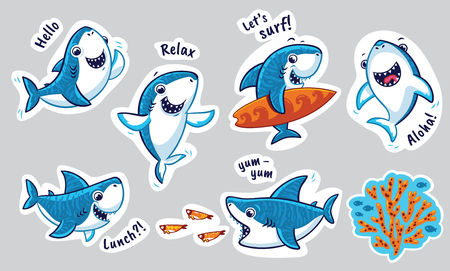Illustration pour Sticker set with funny sharks in cartoon style. Vector illustration - image libre de droit