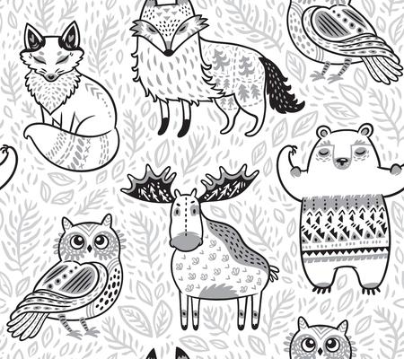 Illustration pour Tribal forest animals in cartoon style. Vector illustration - image libre de droit