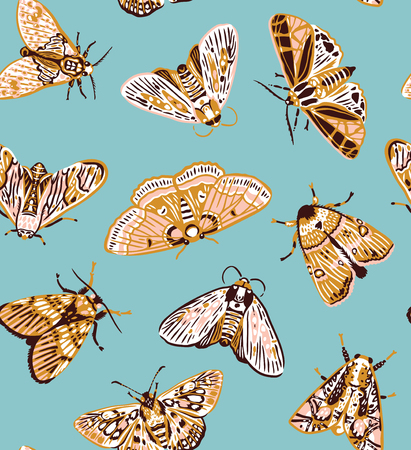 Illustration pour Seamless pattern with colorful moths in vintage style. Vector illustration - image libre de droit