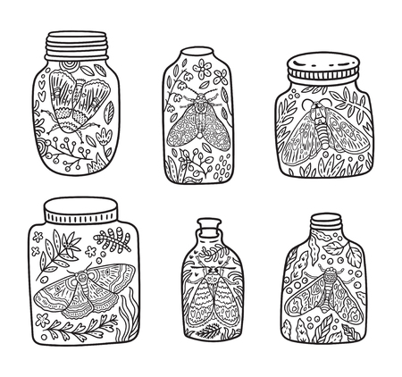 Hand drawn glass jar with moth, butterfly and herbs. Vector contour illustration. Ideal for coloring print