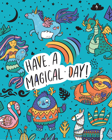 Illustration pour Have a magical day. Fantasy print with Yeti, unicorn, dragon, mermaid, llama and sloth in cartoon style. Vector illustration - image libre de droit