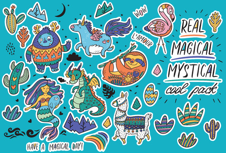 Ilustración de Vector sticker set with real, magical and mystical animals. Yeti and unicorn, dragon, mermaid, llama and sloth in cartoon style. Perfect for stickers, pin, icons - Imagen libre de derechos