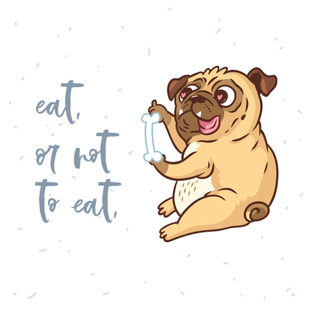 Illustration pour Eat, or not to eat. Cute card with cartoon pug dog. Vector illustration for cards, t-shirts - image libre de droit
