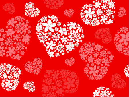 Illustration for Seameless background from the floral hearts - Royalty Free Image