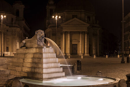 Foto per The fountain represents one of the four main rivers of the world. Piazza del Popolo, Rome, Italy. - Immagine Royalty Free